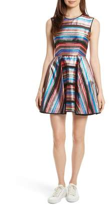 Milly Balli Metallic Stripe Fit & Flare Dress