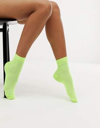 Asos DESIGN neon ribbed ankle socks