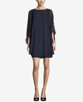 Xscape Evenings Petite Chiffon-Overlay Shift Dress