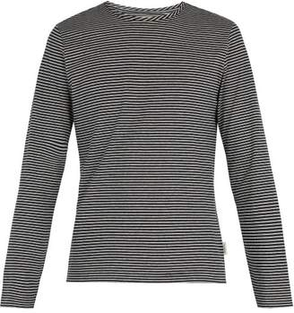 Oliver Spencer Striped Long Sleeved T Shirt - Mens - Navy