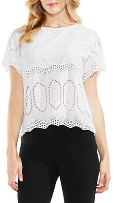 Vince Camuto Scalloped Eyelet Cotton Blouse