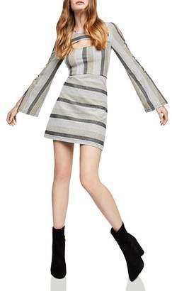 BCBGeneration Metallic-Stripe Cutout Dress