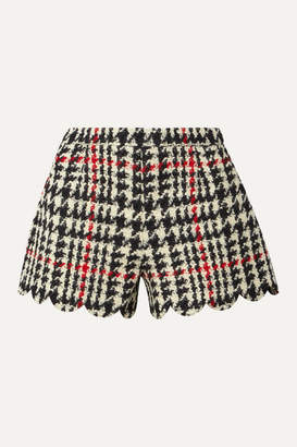 RED Valentino Scalloped Houndstooth Wool-blend Bouclé Shorts - Black