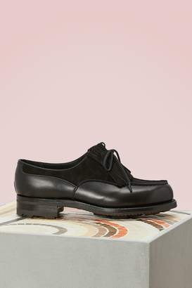 J.M. Weston Dual Material Velvet and Box Leather Brogues