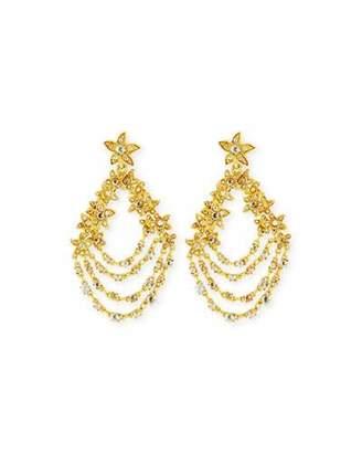 Oscar de la Renta Golden Starfish Chain Pierced Earrings