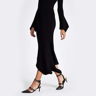 River Island Womens Black knit rib asymmetric hem midi skirt
