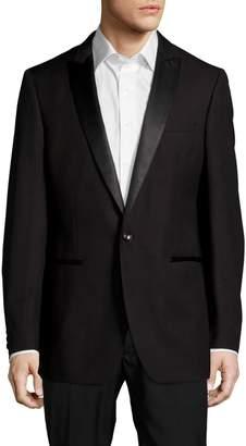 Calvin Klein Peak-Lapel Wool One-Button Jacket