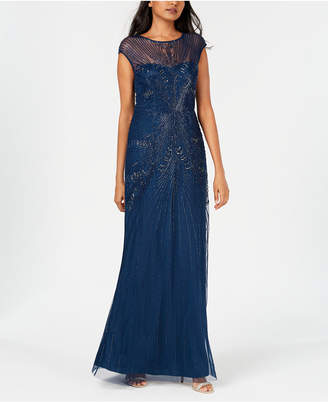 Adrianna Papell Beaded Cap-Sleeve Gown