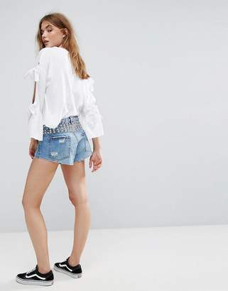 Pull&Bear Button Up Shorts With Stud
