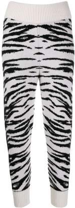 Laneus animal pattern knit trousers