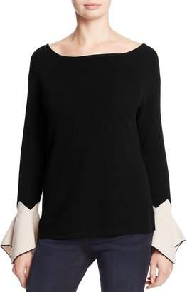 Nic+Zoe Crystal Contrast Cuff Bell Sleeve Sweater