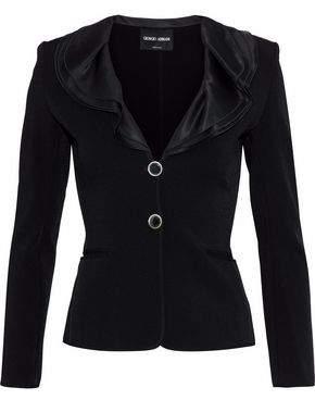 Giorgio Armani Ruffled Silk Satin-Trimmed Stretch-Crepe Jacket