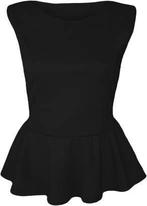 Forever Womens Plus Size Plain Sleeveless Frill Peplum Top