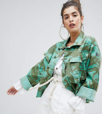 Reclaimed Vintage revived cropped overdyed camo jacket