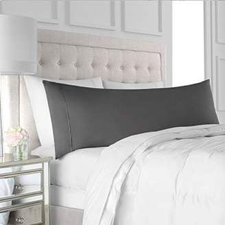 """+Hotel by K-bros&Co Egyptian Luxury Soft Brushed Microfiber Body Pillow Pillowcase - Hypoallergenic Non-Zippered Hotel Quality Body Pillow Cover - 21"""" x 60"""" - Gray"""