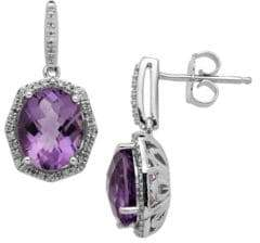 Lord & Taylor Sterling Silver Light Amethyst and Diamond Earrings