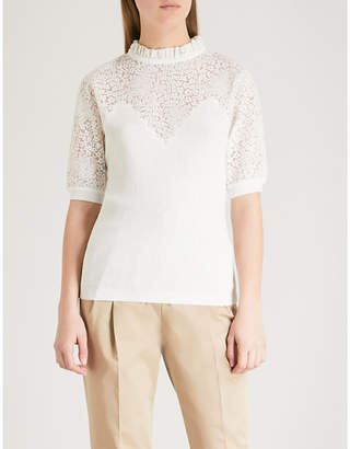 Claudie Pierlot Floral lace-panel knitted top