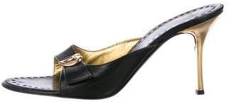 St. John Leather Slide Sandals