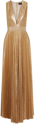 Alice + Olivia - Carisa Metallic Plissé-crepe Gown - Gold $715 thestylecure.com