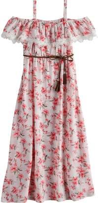 Girls 7-16 Lavender Belted Floral Print Maxi Dress