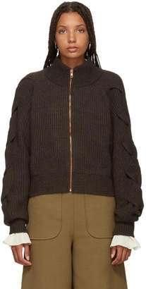 See by Chloe Brown Bomber Sweater
