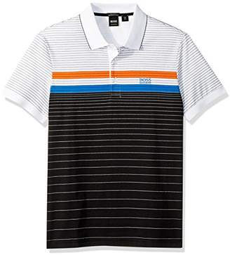 HUGO BOSS BOSS Green Men's Paddy 3 Sporty Multicolor Stripe Polo