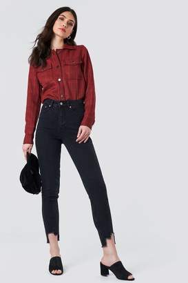 NA-KD Na Kd High Rise Slim Asymmetric Hem Jeans
