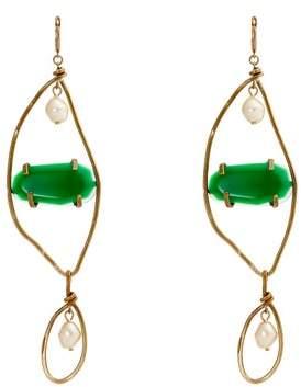 Marni Stone Embellished Faux Pearl Drop Earrings - Womens - Green