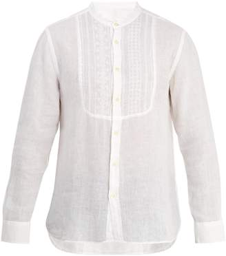 120% Lino 120 LINO Grandad-collar embroidered-bib linen shirt