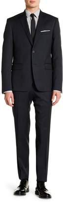 Nordstrom Rack Windowpane Double Button Notch Lapel Trim Fit Suit