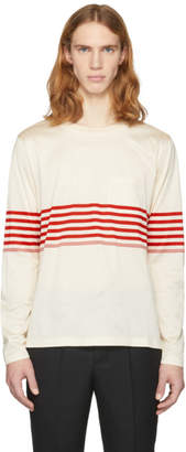Paul Smith Off-White Long Sleeve Chest Stripe T-Shirt