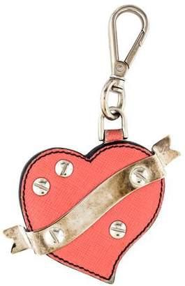 Prada Leather Heart Keychain