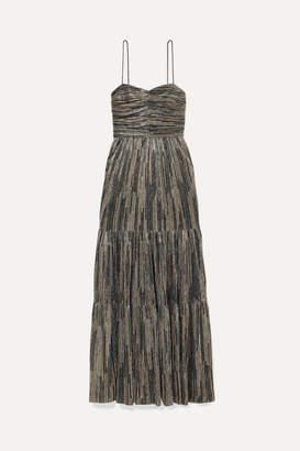 Rebecca Vallance Bellagio Tiered Lurex Maxi Dress - Gold
