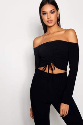 boohoo Sophie Off Shoulder Rib Ruched Front Crop Top