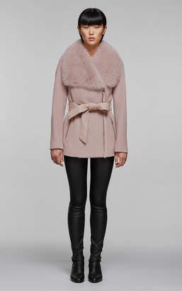 Mackage LORENA tailored wool coat with Toscana collar and waist belt