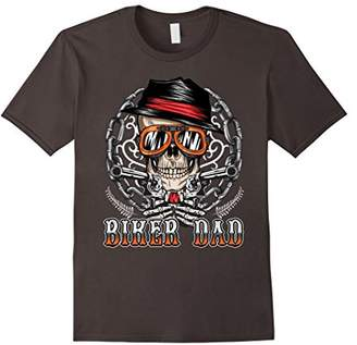 Mens Biker Dad Skull Motorcycle T-Shirt