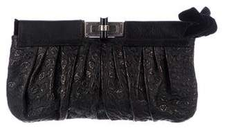 Lanvin Pleated Embossed Leather Clutch