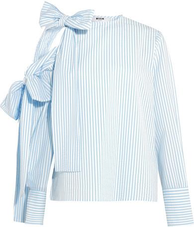 MSGM - Bow-embellished Cold-shoulder Striped Seersucker Top - Sky blue