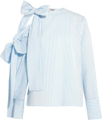 MSGM - Bow-embellished Cold-shoulder Striped Seersucker Top - Sky blue $425 thestylecure.com