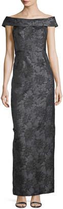 Karl Lagerfeld Paris Floral-Jacquard Off-the-Shoulder Column Gown