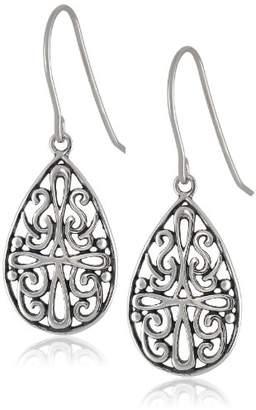 Celtic Sterling Silver Oxidized Cross Teardrop Earrings