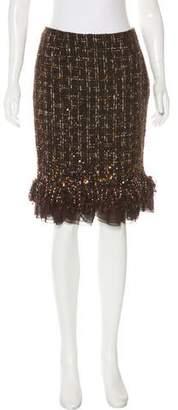 Lafayette 148 Wool Sequin-Embellished Skirt