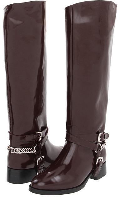 McQ by Alexander McQueen Chain Riding Boot (Oxblood) - Footwear