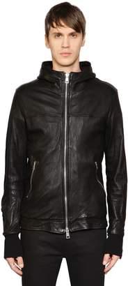 Giorgio Brato Hooded Leather Jacket W/ Sleeve Zips