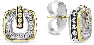 Lagos Sterling Silver Classic Stud Earrings with 18K Gold and Diamonds