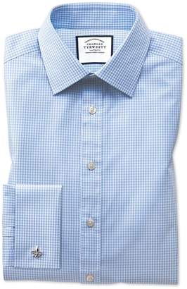 Charles Tyrwhitt Slim Fit Light Sky Blue Small Gingham Cotton Dress Shirt French Cuff Size 14.5/33