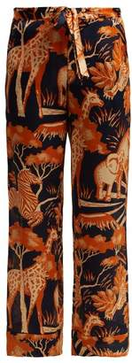 Chufy - Femi Silk Trousers - Womens - Navy Print