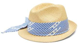 Miu Miu Cotton Scarf Embellished Straw Hat - Womens - Blue
