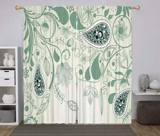 Laurèl oobon 2 Panel Set Window Drapes Kitchen Curtains,Paisley Vintage Floral Paisley Patterns on Retro Art Persian Style Home Decor Decorative Green,for Bedroom Living Room Dorm Kitchen Cafe