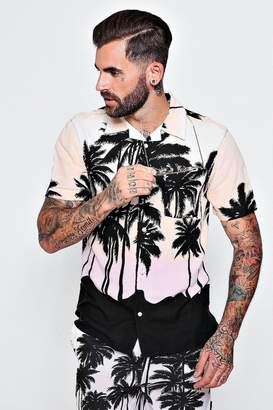 boohoo Short Sleeve Palm Print Revere Shirt Co-ord